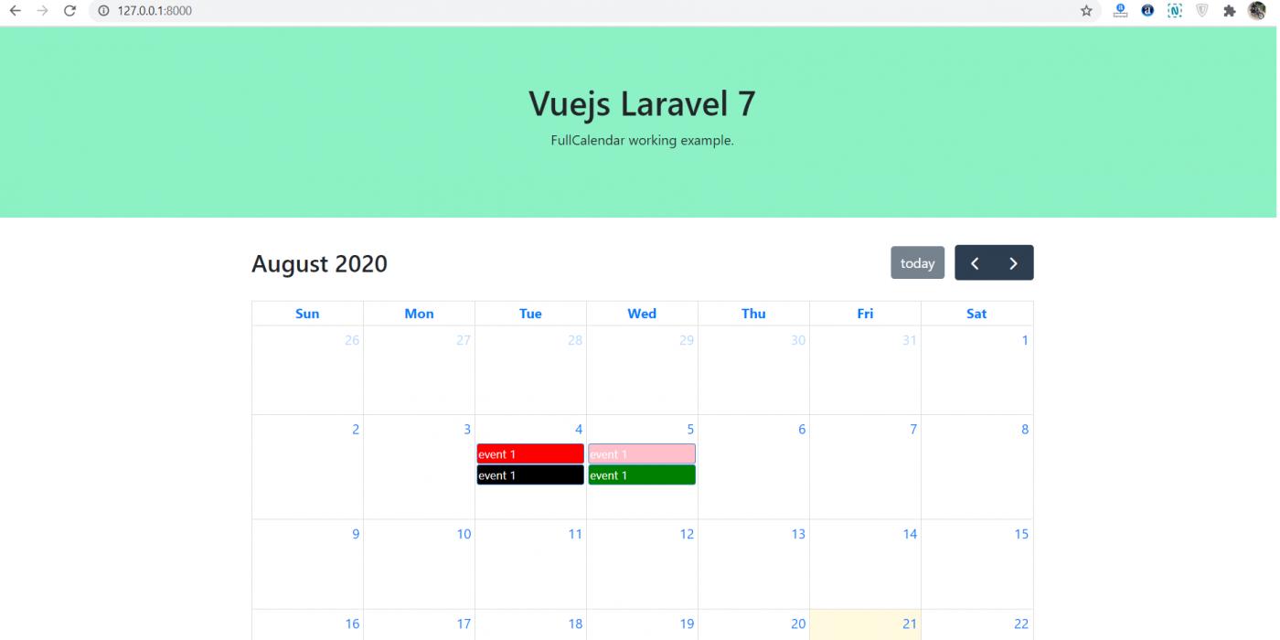 How to implement fullcalendar in vuejs laravel7?