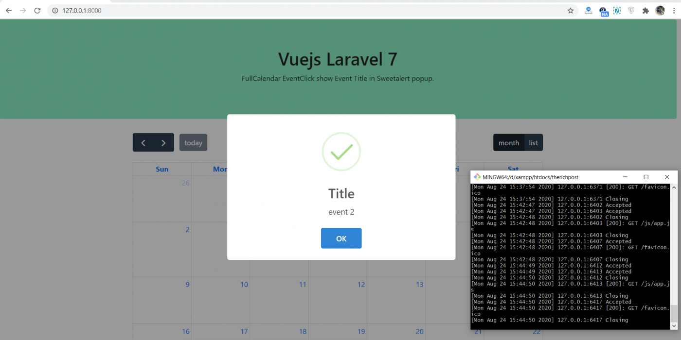 How to open sweetalert popup with event title on event click fullcalendar in vue laravel 7?