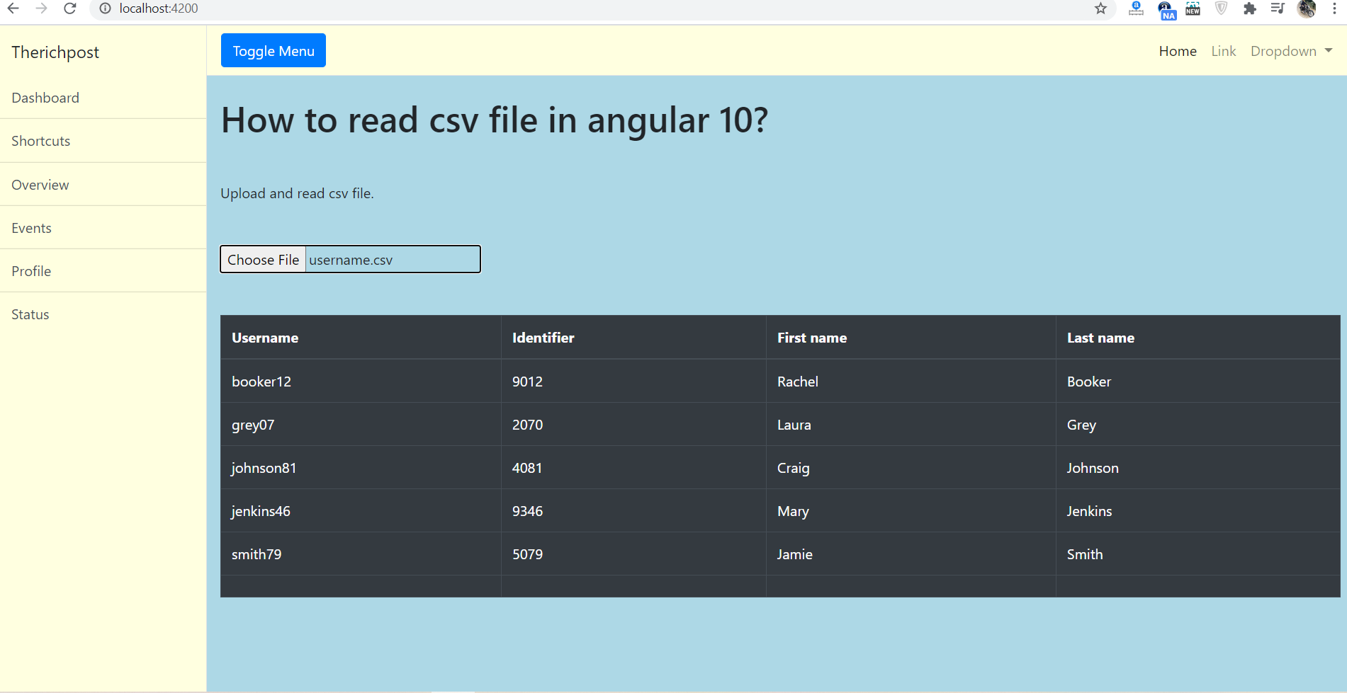 How to read csv file in angular 10?