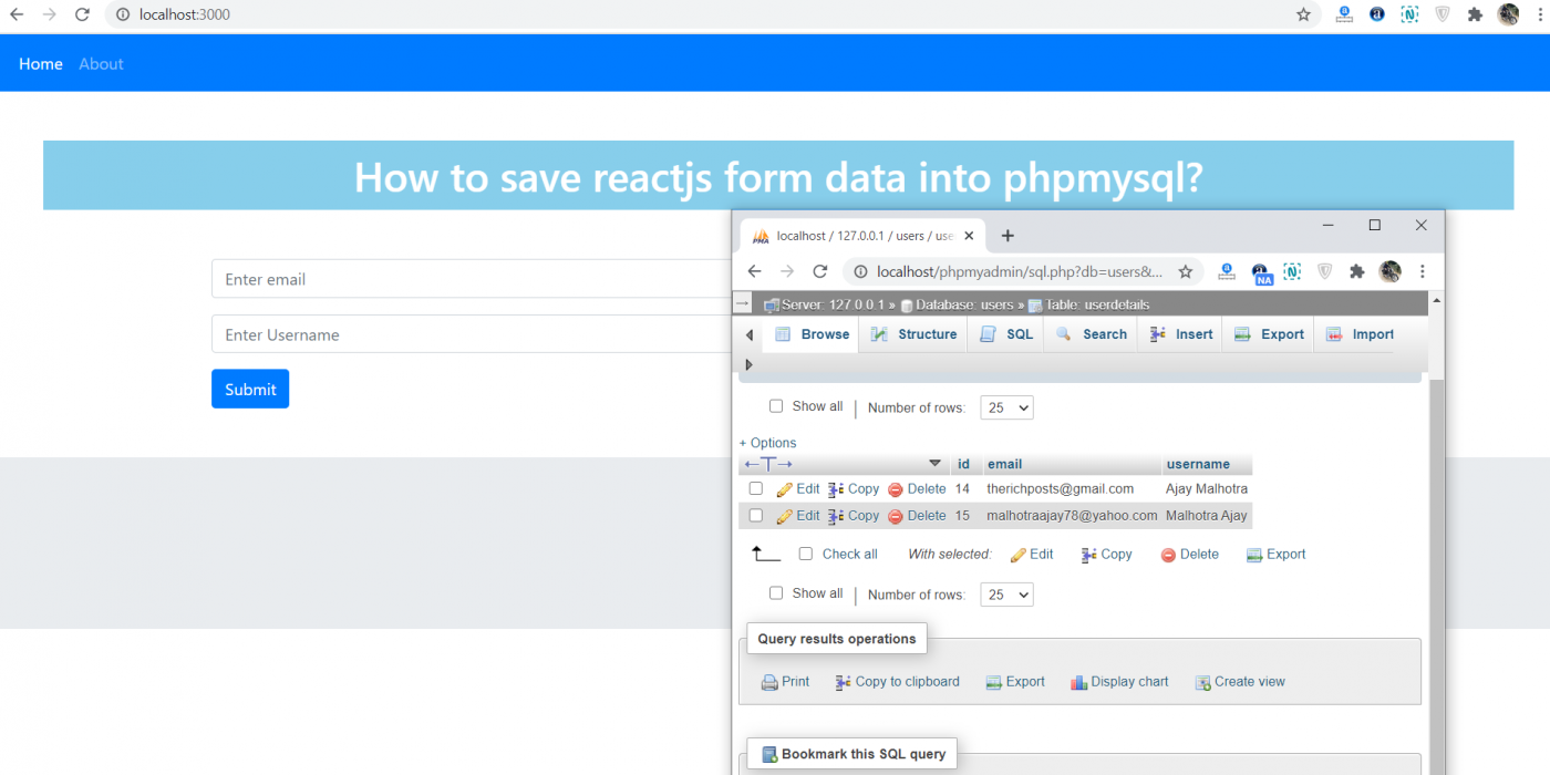 How to save reactjs form data into php mysql database?