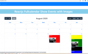 How to show event with image in fullcalendar in reactjs?