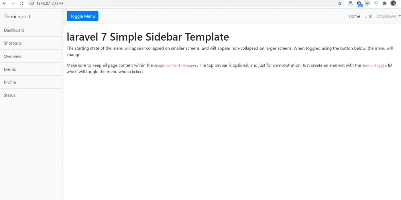 Laravel 7 Simple Sidebar Responsive Template