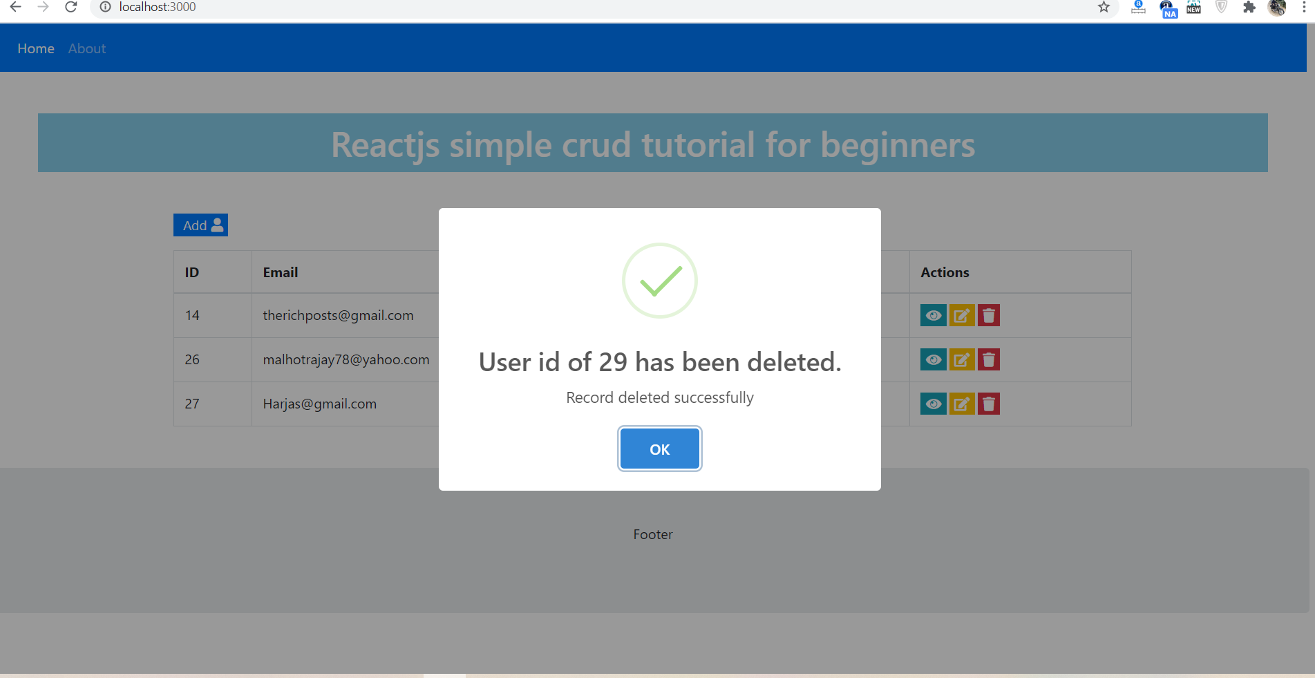 Reactjs Crud Tutorial - Delete User