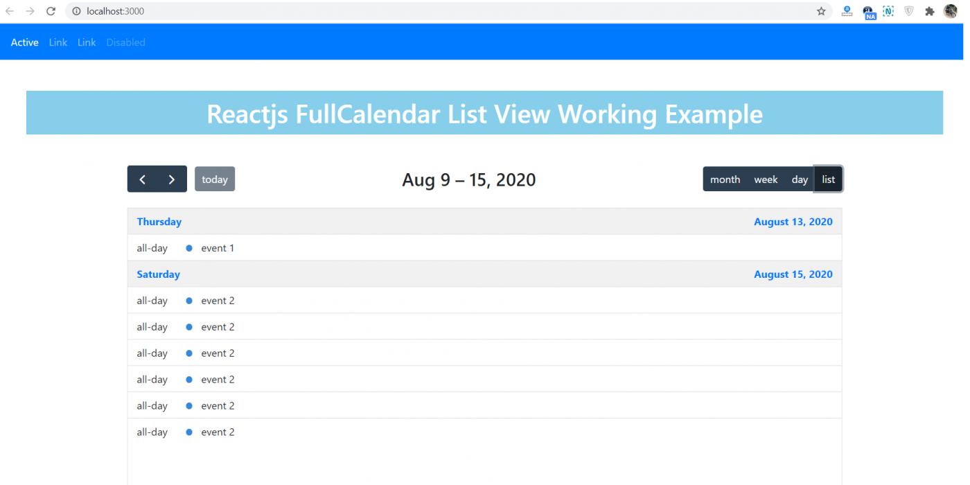 Reactjs FullCalendar List View Working Example