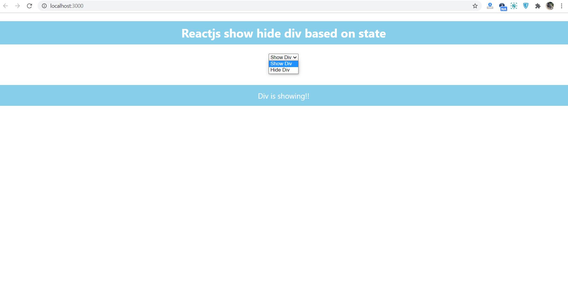 Reactjs show hide div based on state change