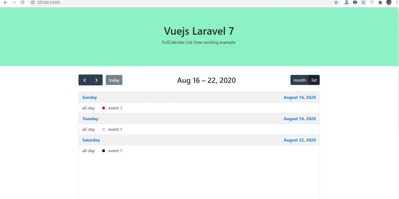 Vue Laravel 7 FullCalendar List View Working Example