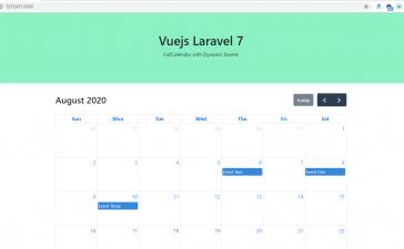 Vuejs Laravel 7 FullCalendar with Dynamic Events