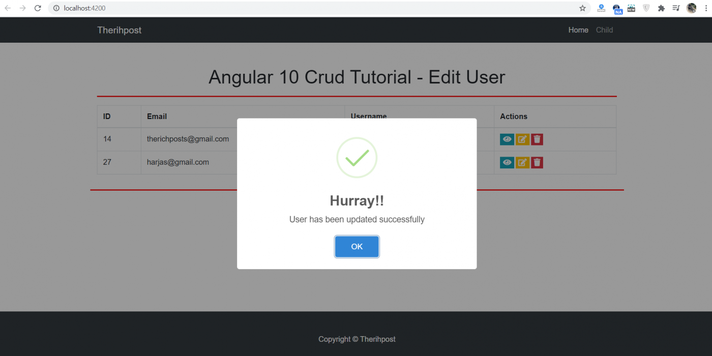 Angular 10 Crud Tutorial - Edit User