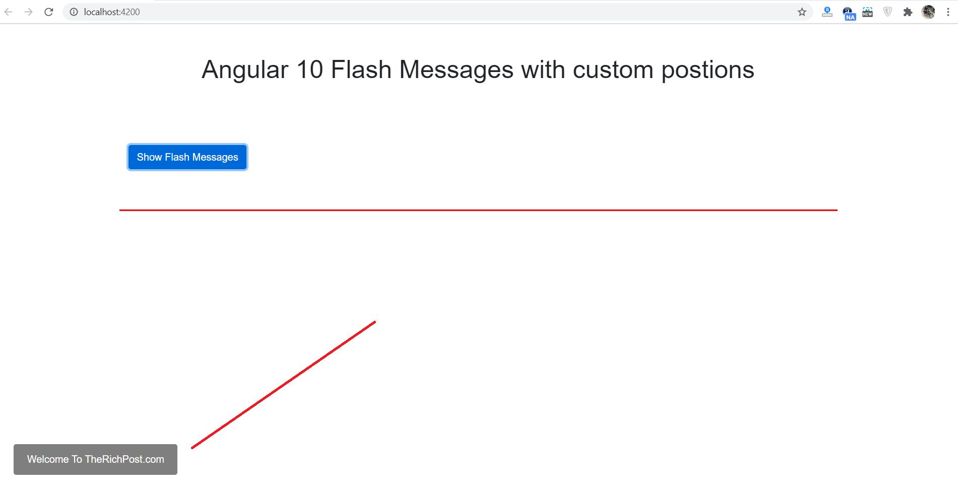 Angular 10 Flash Message with Customization
