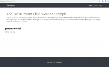 Angular 10 Parent Child Components Working Example