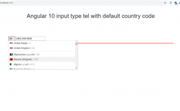 Angular 10 input type tel with default country code