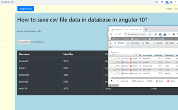 How to save csv file data in database in angular 10?