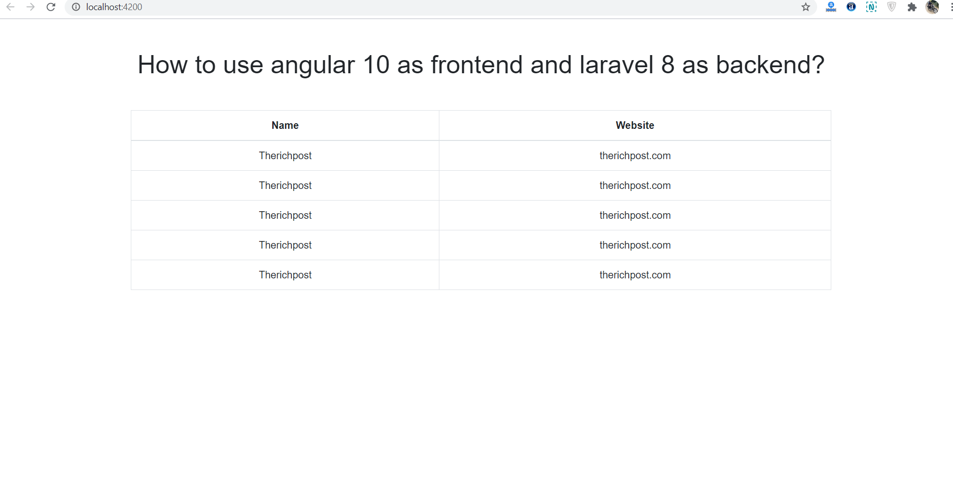 How to use angular 10 as frontend and laravel 8 as backend?