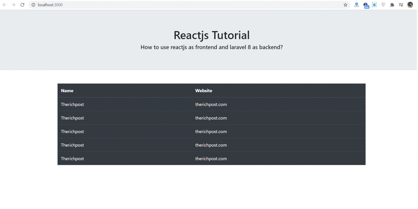 How to use reactjs as frontend and laravel 8 as backend?