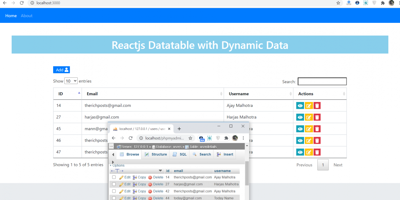 Reactjs Datatables with Dynamic Data Working Example