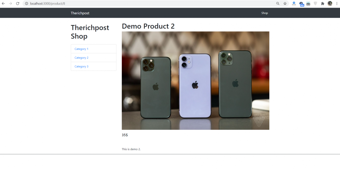 Reactjs Ecommerce Site - Single Product Page