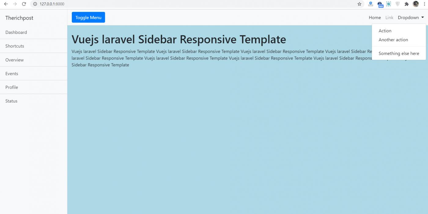 Vuejs Laravel 7 Responsive Sidebar Template