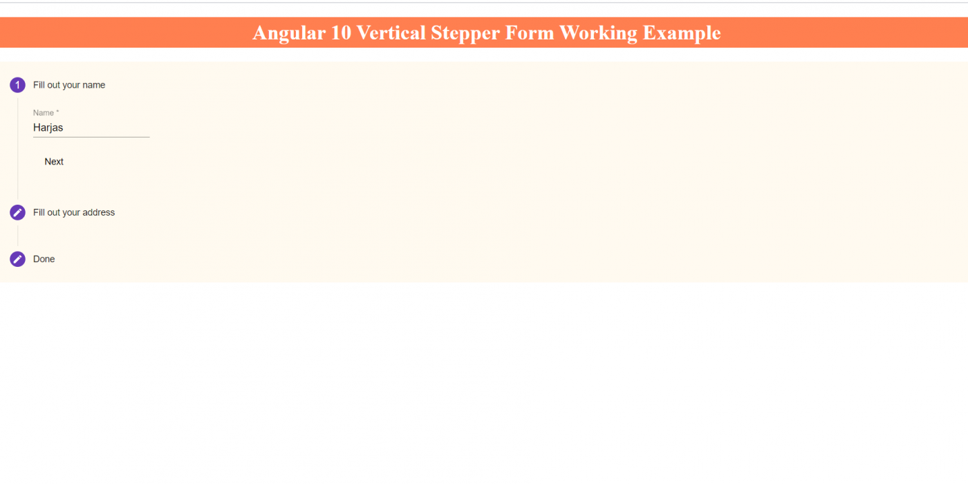 Angular 10 Vertical Stepper Form Working Tutorial