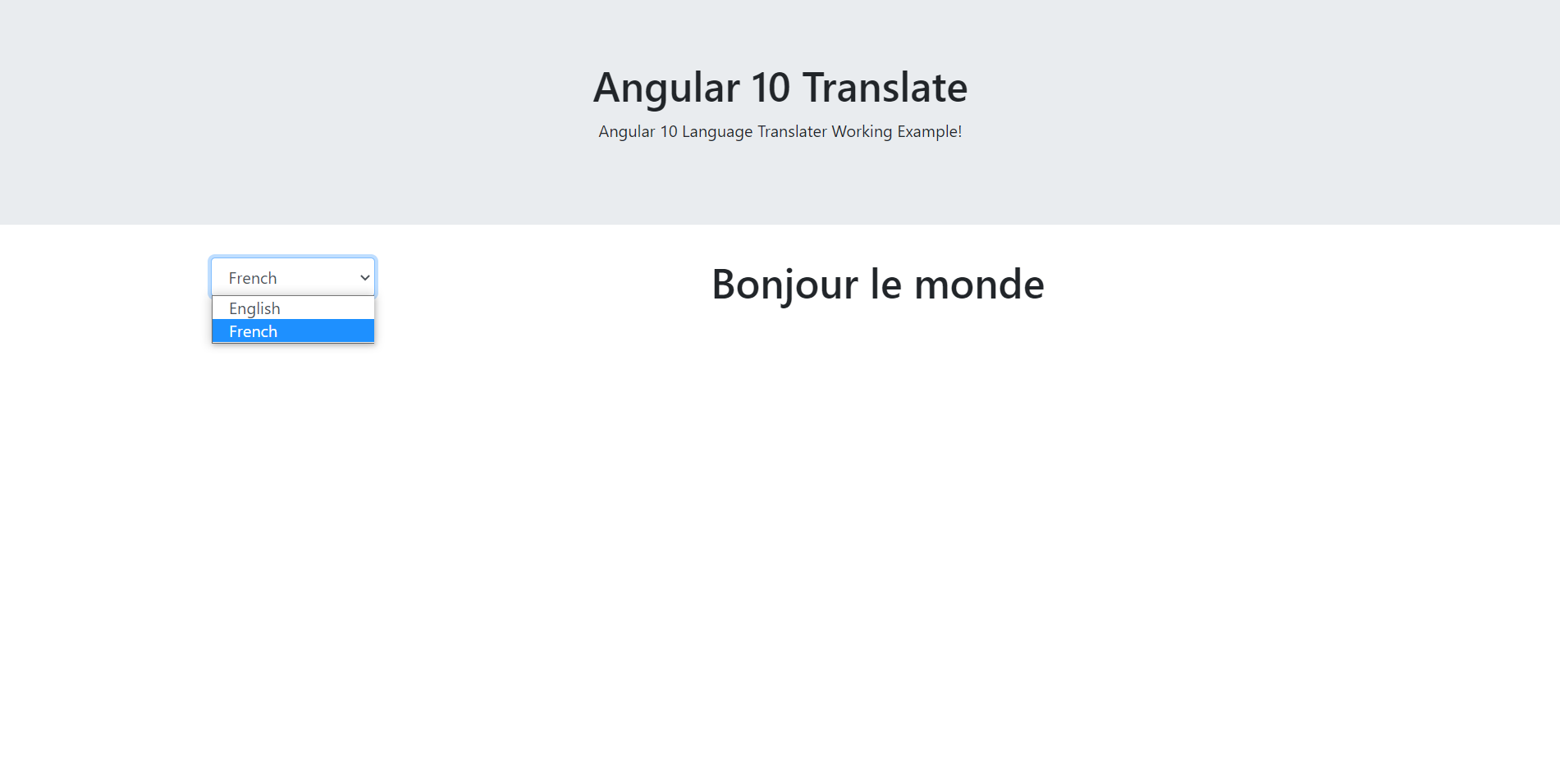 Angular 10 language translator working tutorial