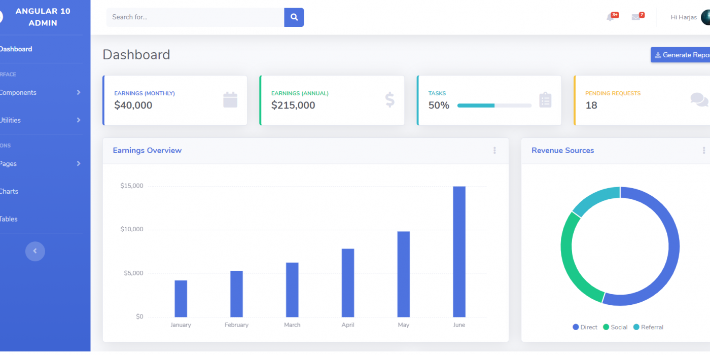 Reactjs Admin Dashboard Template with Source Code