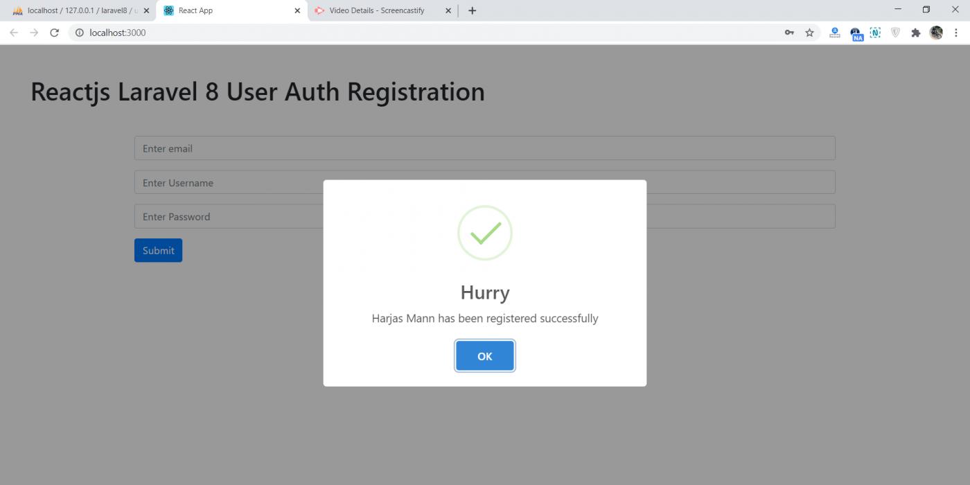 Reactjs Laravel 8 User Auth Registration Working Example