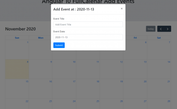 Angular 10 FullCalendar Add Event Demo Part 2 with Source Code