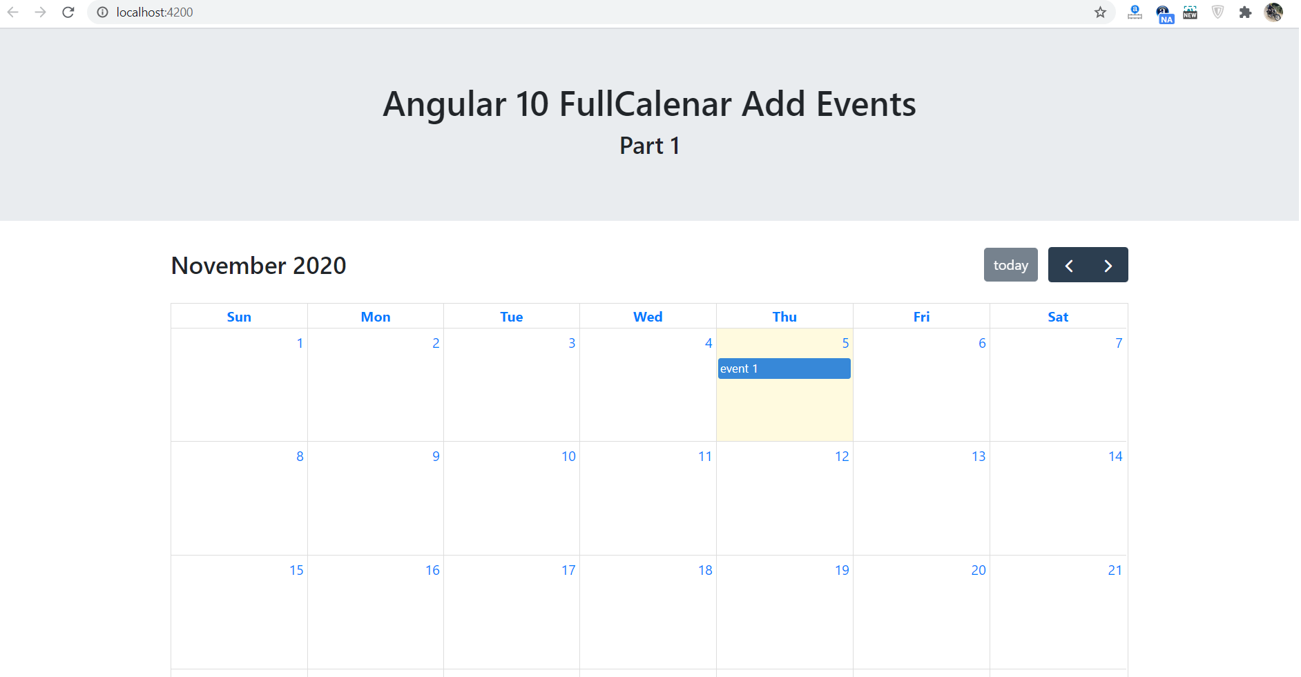 Angular 10 FullCalendar Add Event Demo Part 1 with Source Code