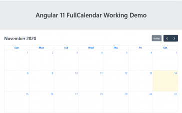 Angular 11 FullCalendar Working Demo