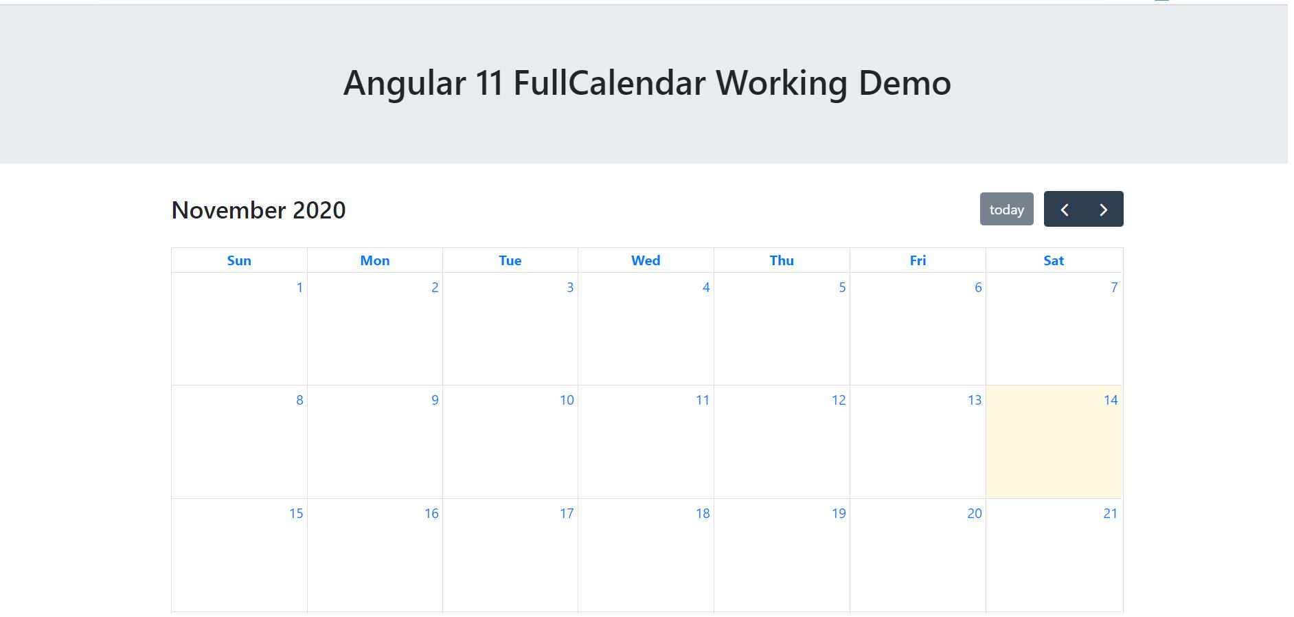 Angular 11 FullCalendar Working Demo