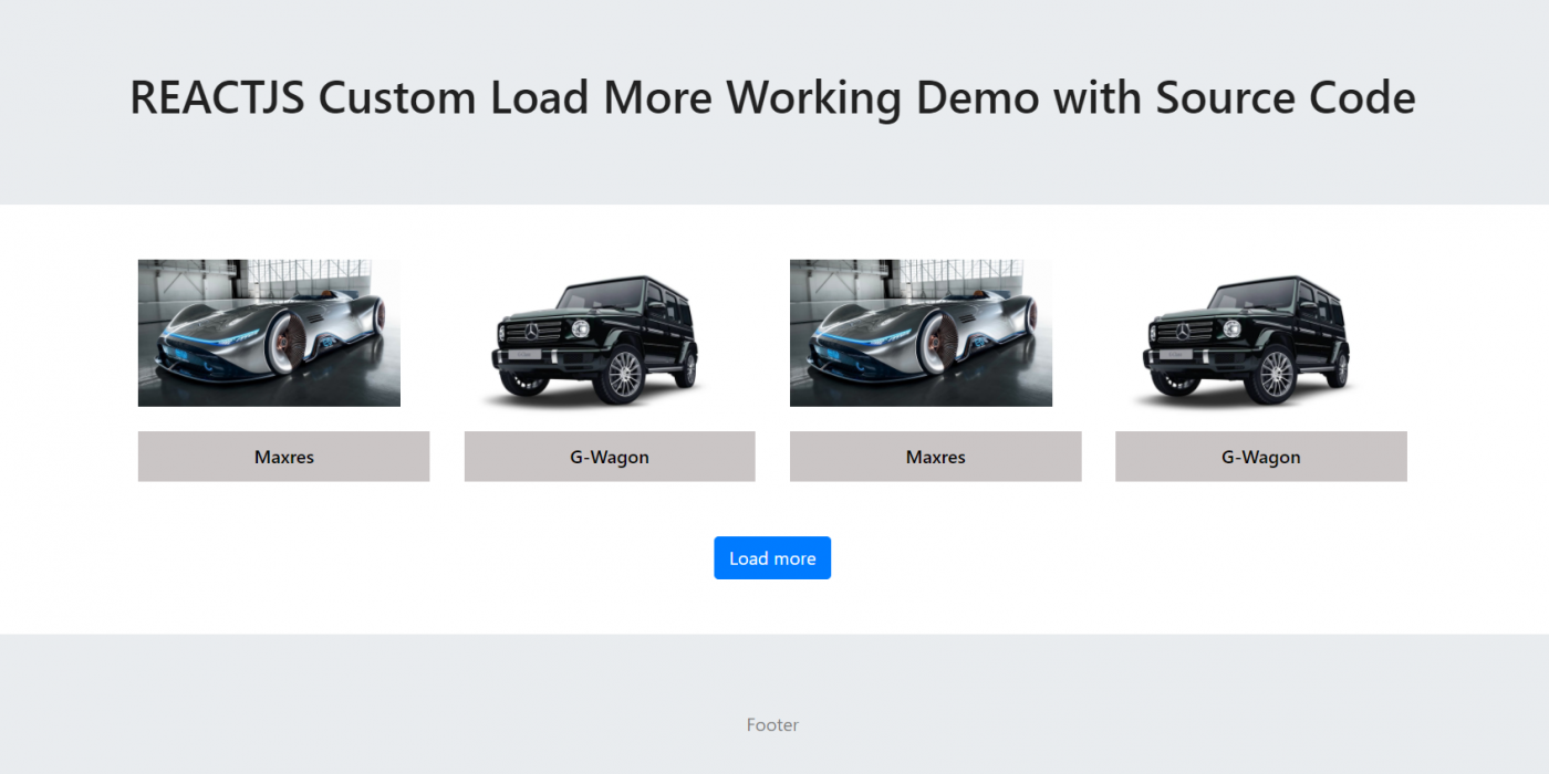 Reactjs Custom Load More Working Demo with Source Code