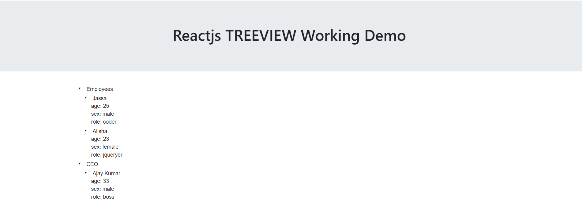 Reactjs Treeview Working Demo with Source Code