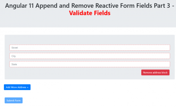 Angular 11 Append Remove Reactive Form Fields Part 3 - Validate Fields