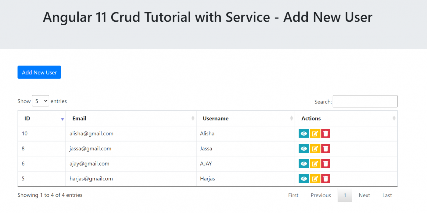 Angular 11 Crud Tutorial with Service - Add New User