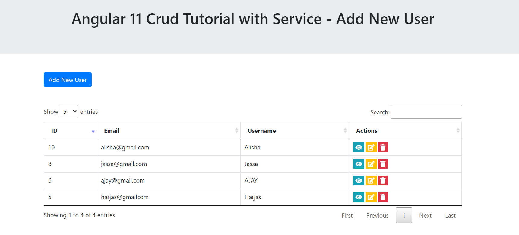 Angular 11 Crud Tutorial with Service - Add New User