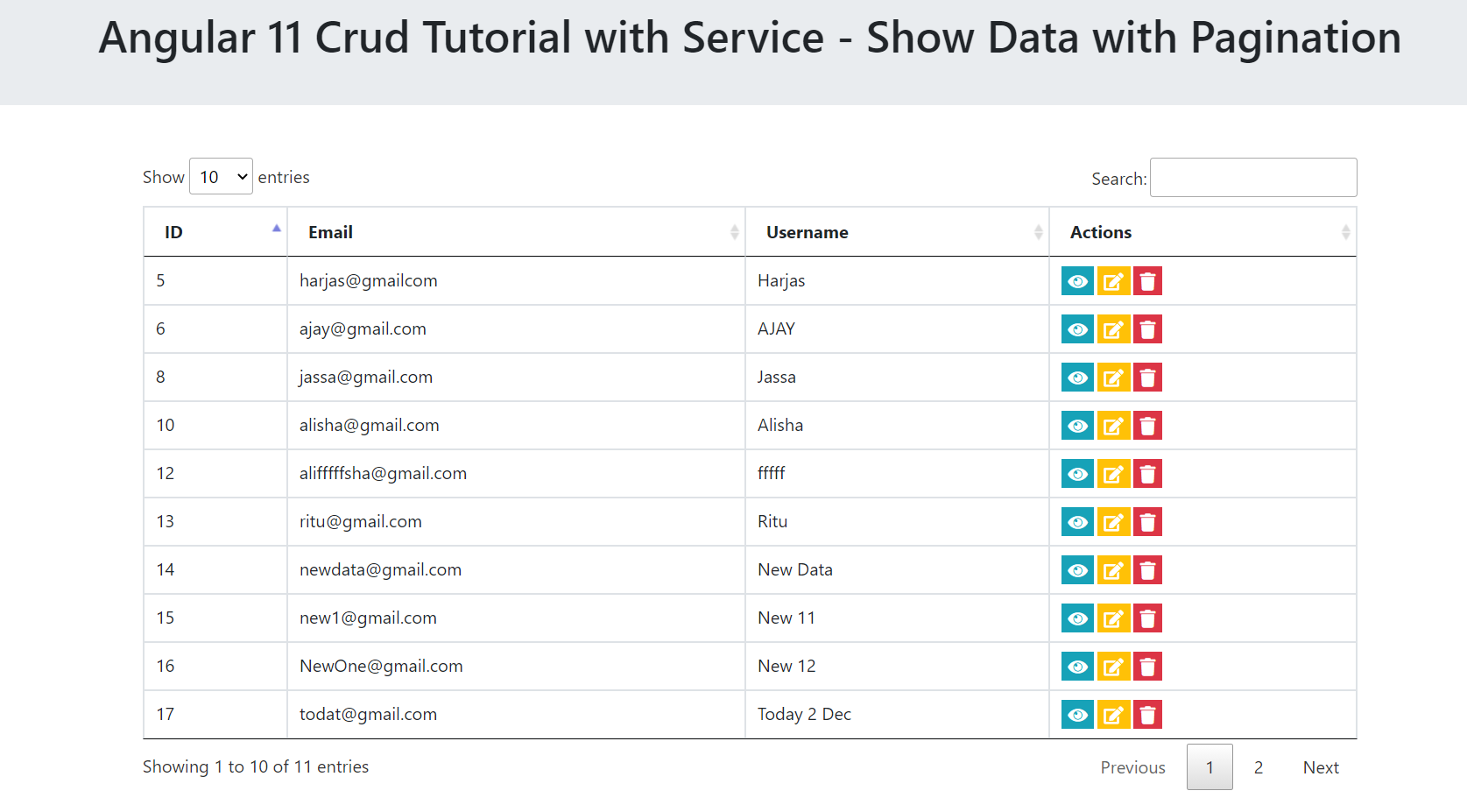 Angular 11 Crud Tutorial with Service - Show Data with Pagination