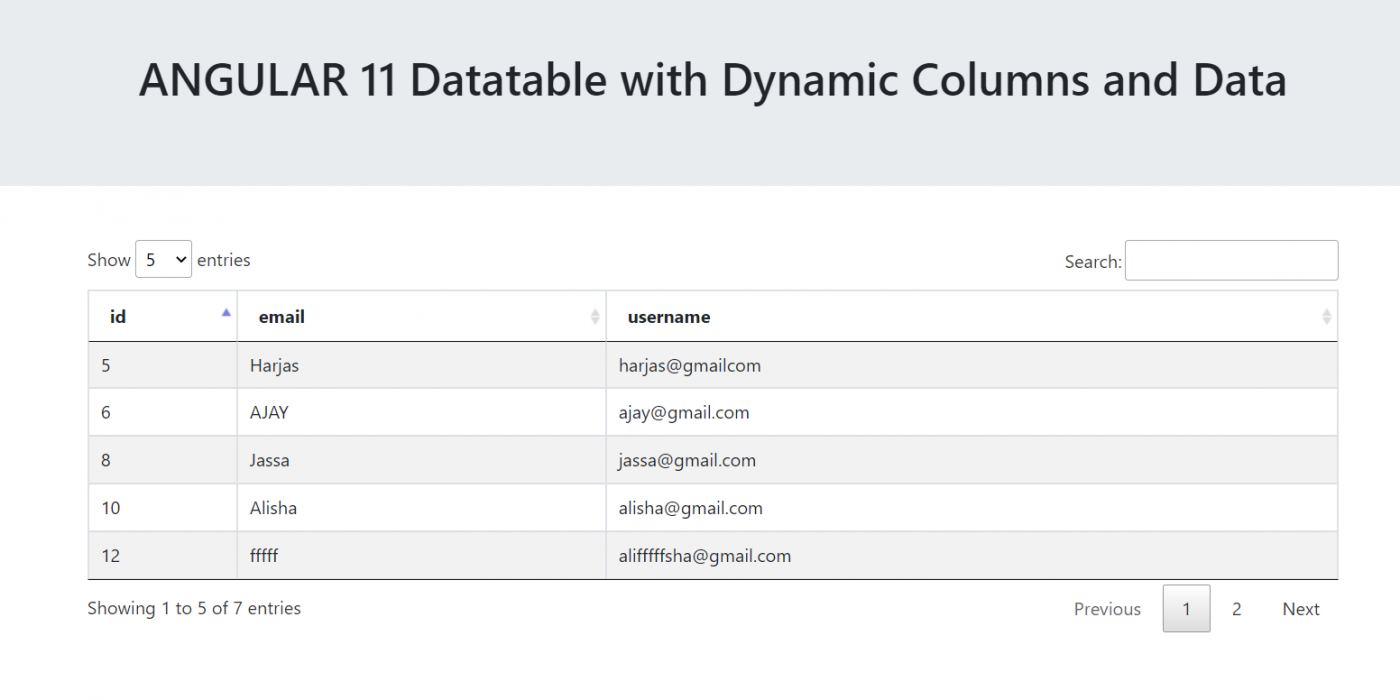 Angular 11 Datatable with Dynamic Columns and Data
