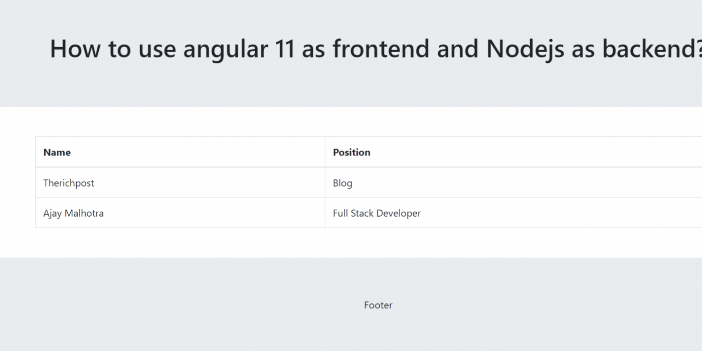 How to use angular 11 as frontend and Nodejs as backend?