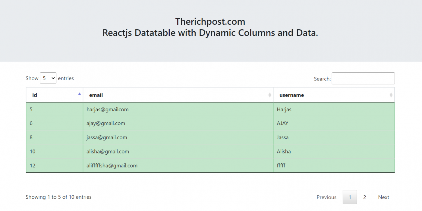 Reactjs Datatable with Dynamic Columns and Data