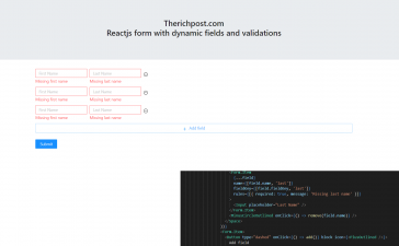 Reactjs Form with Dynamic Fields and Validations