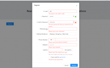 Reactjs Modal Popup Register Form with Validations