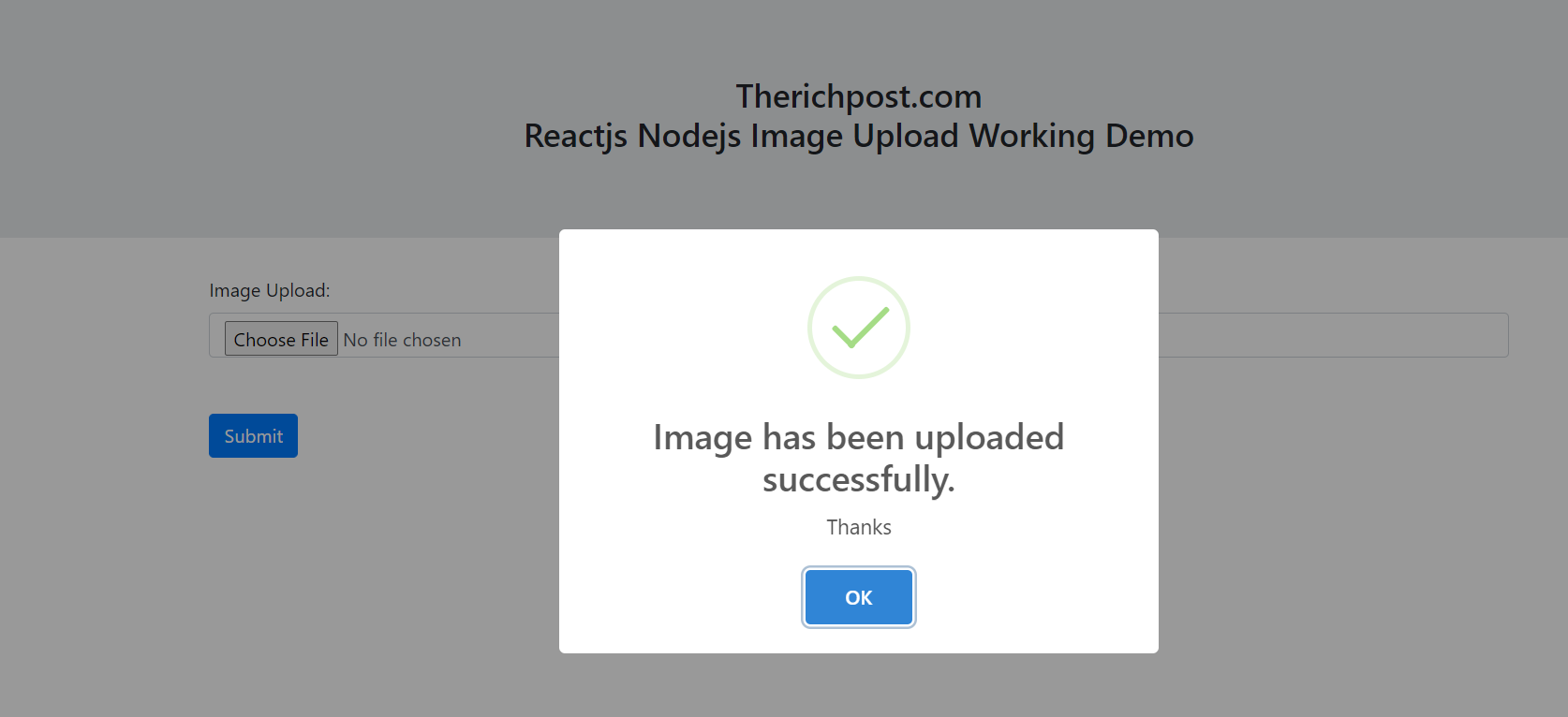 Reactjs Nodejs Image Upload Working Demo