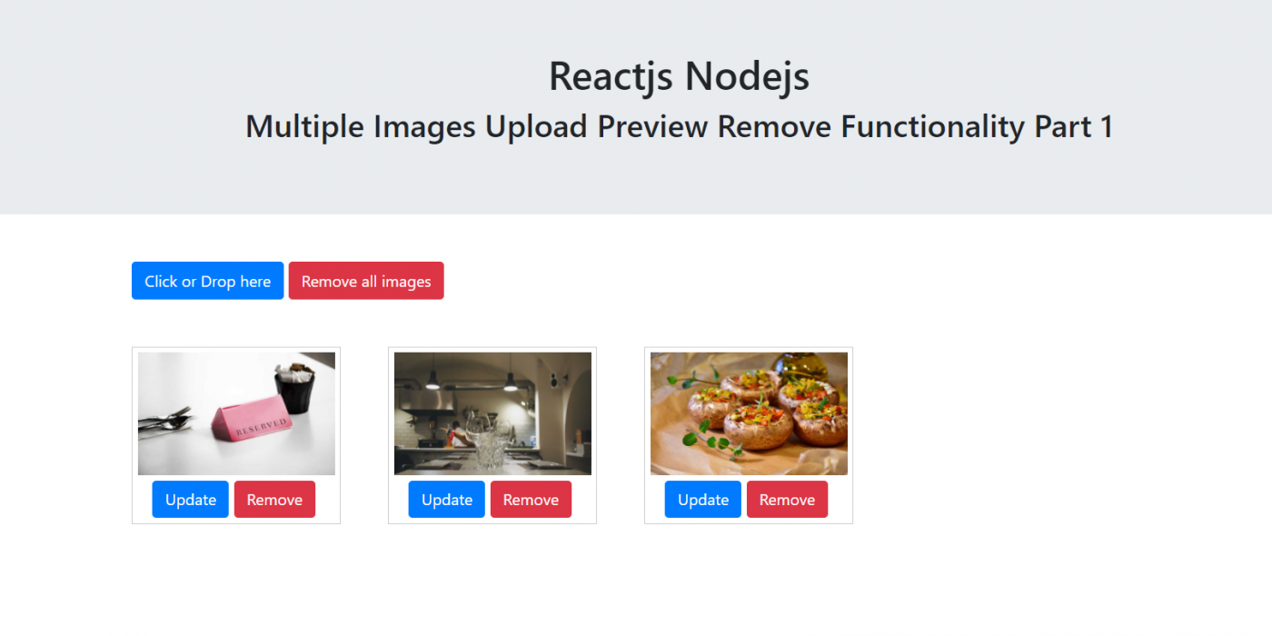Reactjs Nodejs Multiple Images Upload Preview Remove Functionality Part 1