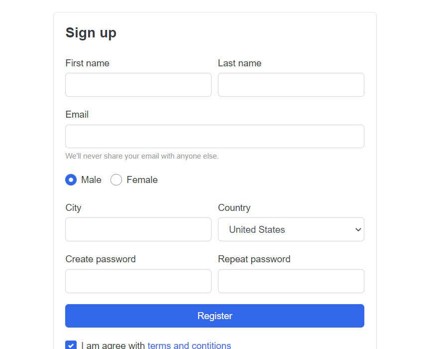 Angular 11 Ecommerce Site Sign Up Template Free