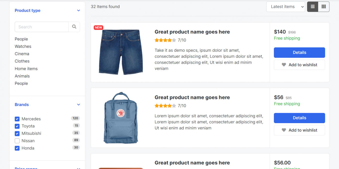 Angular 11 Ecommerce Template Free – Product Listing Page List View