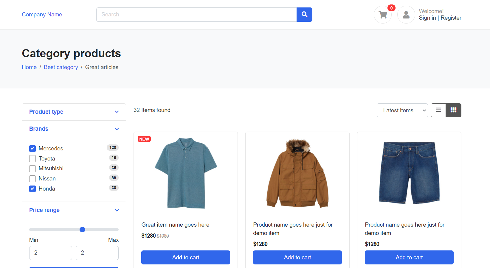 Angular 11 Ecommerce Template Free - Product Listing Page Grid View