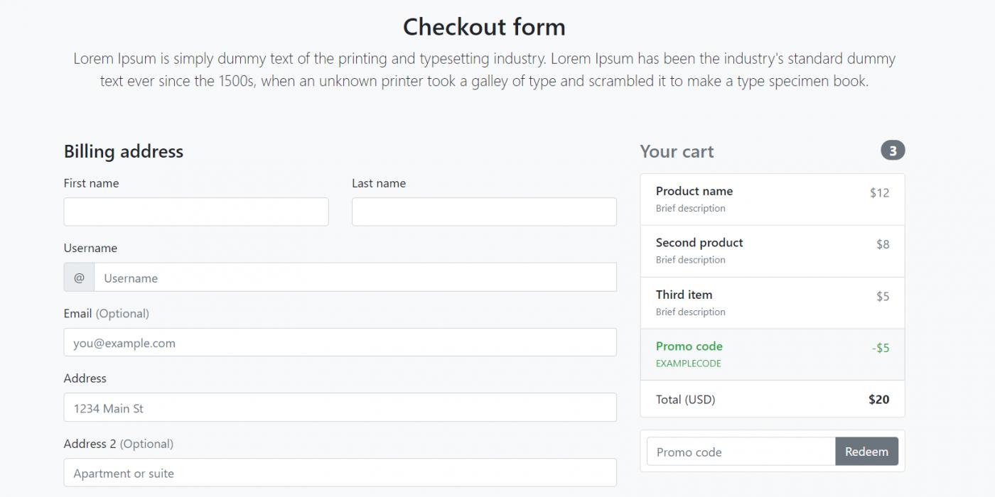 Angular 11 Responsive Custom Checkout Form