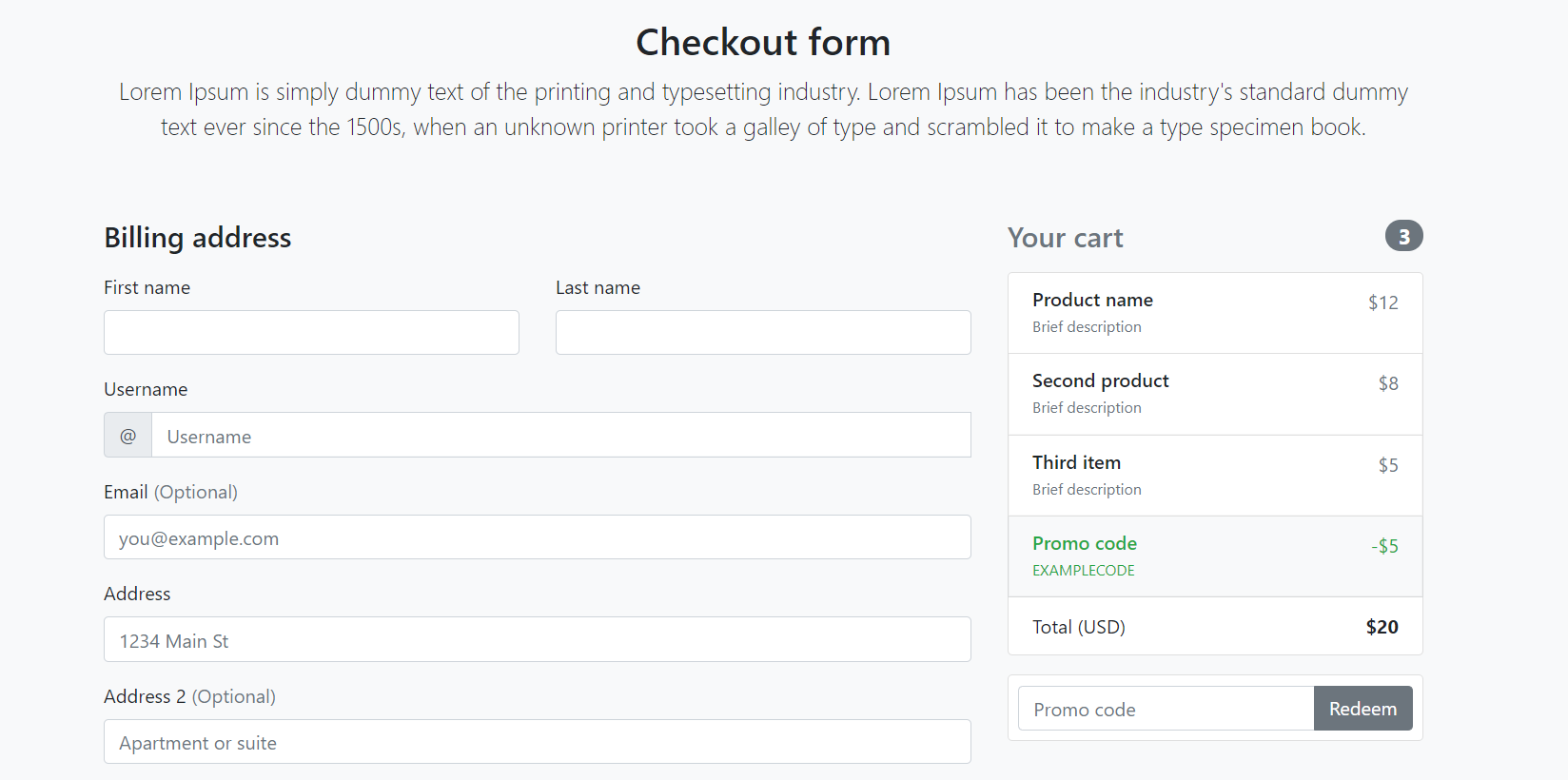 Angular 11 Responsive Custom Checkout Form