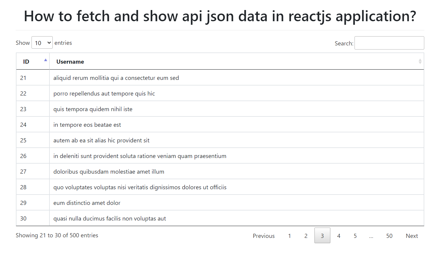 How to fetch and show api json data in reactjs application?