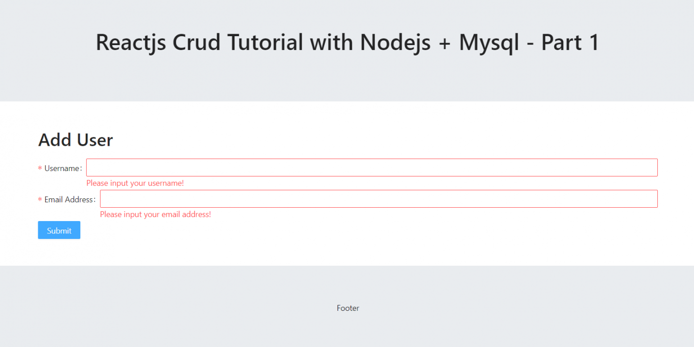 Reactjs Crud Tutorial with Nodejs + Mysql - Part 1