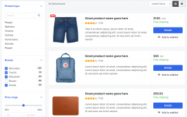 Reactjs Ecommerce Template Free – Product Listing Page List View
